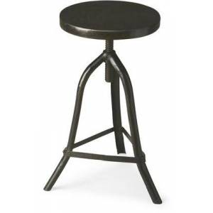 Butler Fullerton Collection 2897025 Revolving Stool with Modern Style  Round Shape and Acacia Wood Solids in Metalworks
