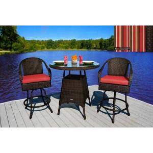 Tortuga Sea Pines Collection LEX-BAR3-T-MONS 3-Piece Bar Set with 2 Bar Chairs and 1 Bar Table in Tortoise Wicker and Monserrat Sangria Fabric