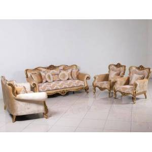 European Furniture Cleopatra Collection Luxury Set 3 Pieces with 1 Sofa + 1 Loveseat + 1 Chair  in Golden