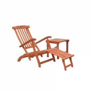 Vifah Malibu Collection V1802SET3 2-Piece Outdoor Patio Chaise Lounge Set with Chaise Lounge and Side Table in Natural Wood