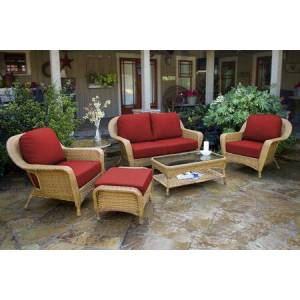 Tortuga Sea Pines Collection FN21500-M-MONS 6-Piece Deep Seating Set with Loveseat  2 Chairs  Coffee Table  Side Table and Ottoman in Mojave Wicker and