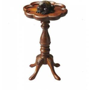 Butler Whitman Collection 0923101 Scatter Table with Traditional Style  Round Shape  Medium Density Fiberboard (MDF) and Rubberwood Solids in Olive Ash Burl