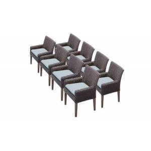 TK Classics TKC099b-DC-4x-C-SPA 8 Venice Dining Chairs With Arms - Wheat and Spa