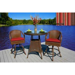 Tortuga Sea Pines Collection LEX-BAR3-J-MONS 3-Piece Bar Set with 2 Bar Chairs and 1 Bar Table in Java Wicker and Monserrat Sangria Fabric
