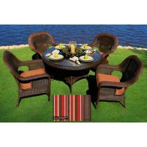 """Tortuga Sea Pines Collection LEX-5DS1-J-MONS 5-Piece Dining Set with 4 Dining Chairs and 48"""" Dining Table in Java Wicker and Monserrat Sangria Fabric"""