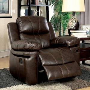 """Furniture of America Listowel Collection CM6992-CH 39"""" Recliner with Split Back  Stitched Detail and Bonded Leather Match in"""