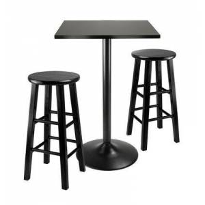 Winsome 20323 3pc Counter Height Dining Set  Black Square Table Top and Black Metal Legs with 2 Wood Stools in Black