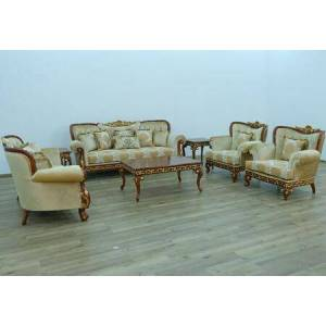 European Furniture Fantasia Collection II Luxury set 3 Pieces with 1 Sofa + 1 Loveseat + 1 Chair  in Antique Walnut and Dark Gold