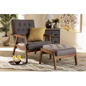 Wholesale Interiors Naeva Collection BBT8040-GREY/WALNUT-2PCSET Mid-Century Modern Grey Fabric Upholstered Walnut Finished Wood 2-Piece Armchair and Footstool