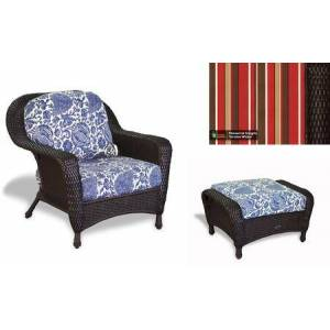 Tortuga Sea Pines Collection LEX-CO1-T-MONS Chair and Ottoman Bundle in Tortoise Wicker and Monserrat Sangria Fabric