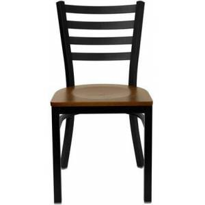 """Flash Furniture XU-DG697BLAD-BAR-CHYW-GG Hercules Series 43"""" Black Ladder Back Metal Restaurant Barstool  Two Welded Support Bars  Includes a Footrest  Simple and"""