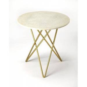 Butler Quantum Collection 3775389 Bunching Table with Modern Style  Round Shape  Medium Density Fiberboard (MDF) and Iron Metal Material in Marble and Metal