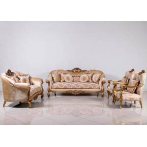 European Furniture Golden Knights Collection Luxury 3 Pieces Set with 1 Sofa + 1 Loveseat + 1 Chair  in Golden