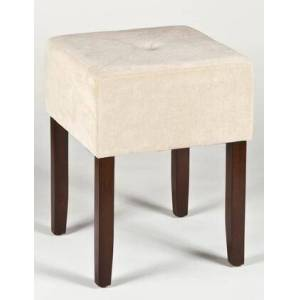 """Hillsdale Furniture 55240 Bellamy 16.75"""" Square Backless Vanity Stool with Light Beige Fabric Upholstery and Rubber Wood Base in Brown"""