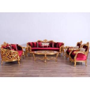 European Furniture Bellagio Collection II Luxury 3 Pieces Living Room Set with 1 Sofa + 1 Loveseat + 1 Living Room Chair  in Red