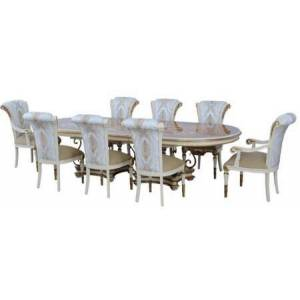 European Furniture Valentina Collection Luxury 9 Pieces Set with 1 Dining Table + 2 Side Chair + 6 Side Chair  in Beige and Dark Gold