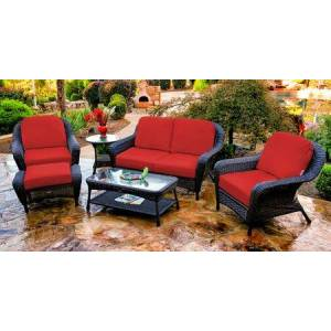 Tortuga Sea Pines Collection FN21500-T-MONS 6-Piece Deep Seating Set with Loveseat  2 Chairs  Coffee Table  Side Table and Ottoman in Tortoise Wicker and