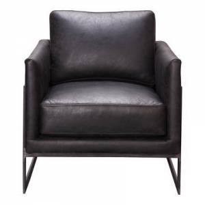 Moe's Home Collection Luxley Collection PK-1082-02 Club Chair with Iron Frame in Black