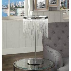 Benzara BM194214 Contemporary Metal Table Lamp with Adjustable LED Light and Beaded Drum Shade
