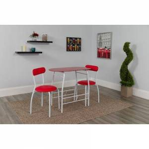Flash Furniture XM-JM-A0278-1-2-RD-GG Sutton 3 Piece Space-Saver Bistro Set with Red Glass Top Table and Red Vinyl Padded