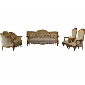 European Furniture Carlotta Collection Luxury Set 3 Pieces with 1 Sofa + 1 Loveseat + 1 Chair  in Golden
