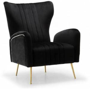 "Meridian Opera Collection 532Black 29"" Accent chair with Velvet  Gold Stainless Legs and Nail Head Trim in"