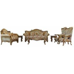 European Furniture Alexsandra Collection Luxury 3 Piece Living Room Set with Sofa + Loveseat + Chair   in Golden Brown and Antique
