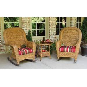 Tortuga Sea Pines Collection LEX-RT3-M-MONS 3-Piece Rocker and Table Set with 2 Rockers and 1 Side Table in Mojave Wicker and Monserrat Sangria Fabric