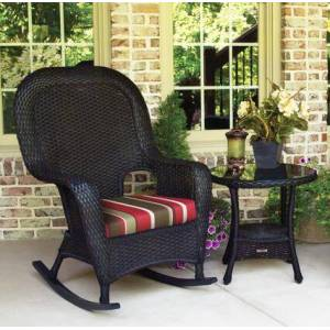 Tortuga Sea Pines Collection LEX-RT1-T-MONS Rocker and Table Bundle in Tortoise Wicker and Monserrat Sangria Fabric