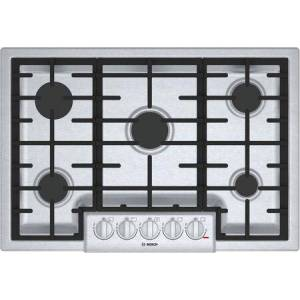 """Bosch NGM8056UC 30"""" Gas Cooktop with 5 Burners  Automatic Electronic Re-Ignition  Push-To-Turn Knobs  Low Profile Design  and Cast Iron Grate  ADA"""