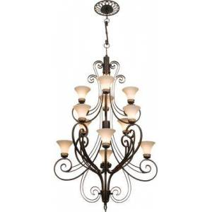 Kalco Mirabelle 5189CI/1356 (4+4+4)-Light 3 Tier Foyer in Country Iron with Travertine Standard Glass