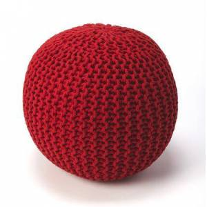 Butler Pincushion Collection 3689293 Pouffe with Modern Style  Round Shape  Thermocol Bean Fill and Fabric Uphlostery in Red