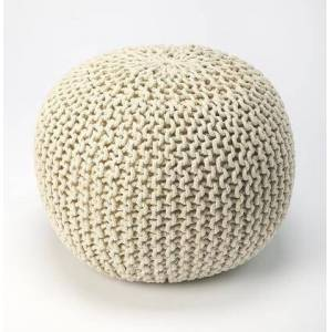 Butler Pincushion Collection 3689984 Pouffe with Modern Style  Round Shape  Thermocol Bean Fill and Fabric Uphlostery in Beige