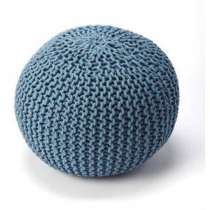 Butler Pincushion Collection 3689291 Pouffe with Modern Style  Round Shape  Thermocol Bean Fill and Fabric Uphlostery in Blue