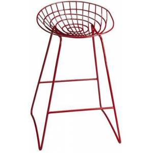 Butler Ludwig Collection 5140293 Bar Stool with Transitional Style  Round Shape and Iron Metal Material in Red