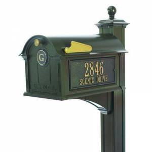 Whitehall Products 16237 Aluminum Balmoral Mailbox Side Plaques  Monogram and Post Package in