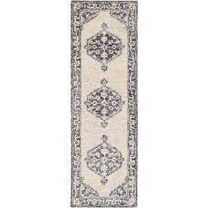 """Surya Granada GND-2305 2'6"""" x 8' Runner Traditional Rug in Black  Charcoal  Light Gray"""