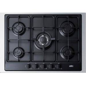 """Summit GC5272BTK30 30"""" Gas Cooktop with 5 Sealed Burners  Wok Ring  Continuous Cast Iron Grates  in"""