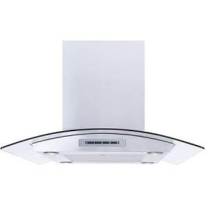 """Windster WS-68N30SS 30"""" Island Mount Chimney Style Hood with 535 CFM Blower  3 Speed Blower  LED Lighting  and 7"""" Round Duct  in Stainless"""