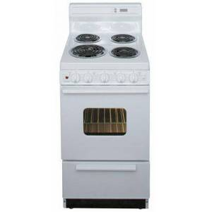 """Premier EAK220OP 20"""" Electric Range with 2.4 Cu. Ft. Capacity  One 8"""" Coil Element  Three 6"""" Coil Elements  8"""" Porcelain Backguard with Electronic Clock and"""