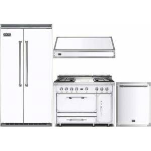 """Viking 4 Piece Kitchen Appliance Package with VCSB5423WH 42"""" Side by Side Refrigerator  TVDR4804FAW 48"""" Dual Fuel Range  TVWH480FW 48"""" Wall Mount Hood"""