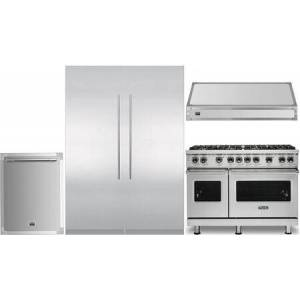 """Viking 6 Piece Kitchen Appliance Package with 24"""" Left Hinge Column Refrigerator  24"""" Right Hinge Column Freezer  48"""" Dual Fuel Range  48"""" Wall Mount Ducted"""