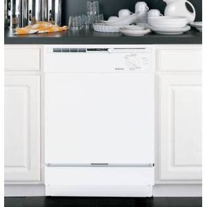 """Hotpoint HDA2100HWW 24"""" Built-In 5-Cycle Dishwasher with Water Filtration System  Deluxe Silverware Basket  Piranha Hard Food Disposer  QuietPower Motor"""