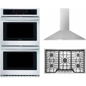 """Frigidaire 3-Piece Kitchen Package With FFGC3626SS 36"""" Gas Cooktop  FFET2726TS 37"""" Electric Double Wall Oven and FHWC3655LS 36"""" Wall Mount Convertible Hood in"""