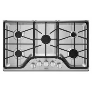 "Maytag MGC7536DS 36"" Gas Cooktop with 5 Sealed Burners  15 000 BTU Power Burner  Heavy-Duty DuraClean Continuous Cast-Iron Grates  Simmer Burner and Front"