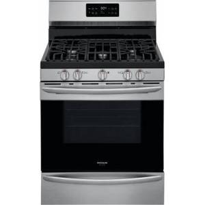 """Frigidaire GCRG3038AF 30"""" Gallery Series Stainless Steel Freestanding Gas Range with 5 cu. ft. Oven Capacity  5 Burners  Cast Iron Continuous Grates and Steam"""