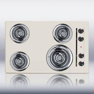 """Summit SEL05 30"""" Coil Electric Cooktop With 4 Coil Elements  Porcelain Enamel Surface  Recessed Top  Chrome Drip Bowls  220V Electric Cooktop  In"""