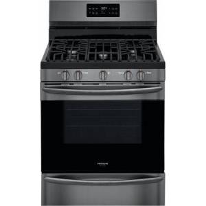 """Frigidaire GCRG3038AD 30"""" Gallery Series Black Stainless Steel Freestanding Gas Range with 5 cu. ft. Oven Capacity  5 Burners  Cast Iron Continuous Grates and"""