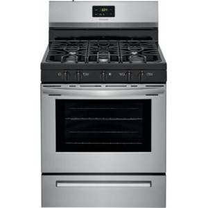 "Frigidaire FCRG3052AS 30"" Freestanding Gas Range with 5 Sealed Burners  5 cu. ft. Oven Capacity  Continuous Corner-to-Corner Grates  Store-More Storage Drawer"