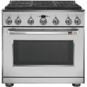 "Cafe CGY366P2MS1 36"" Matte Collection Freestanding Professional Gas Range with 6 Sealed Burners  6.2 cu. ft. Oven Capacity  Electronic Ignition  Automatic"